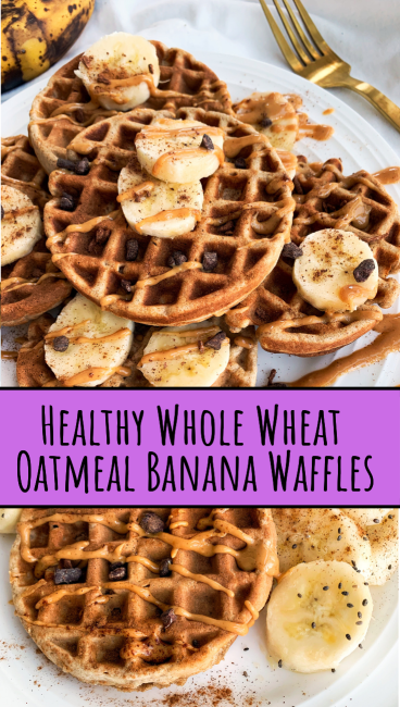 Healthy Whole Wheat Oatmeal Banana Waffles | Easy Breakfast for Two images