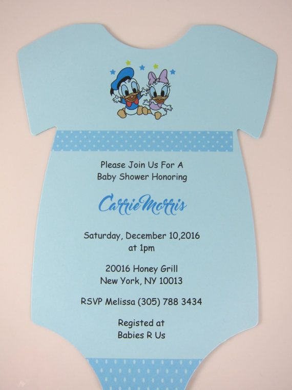 Donald Duck and Daisy Duck Onesie Invitations by HelloPartyCrafts