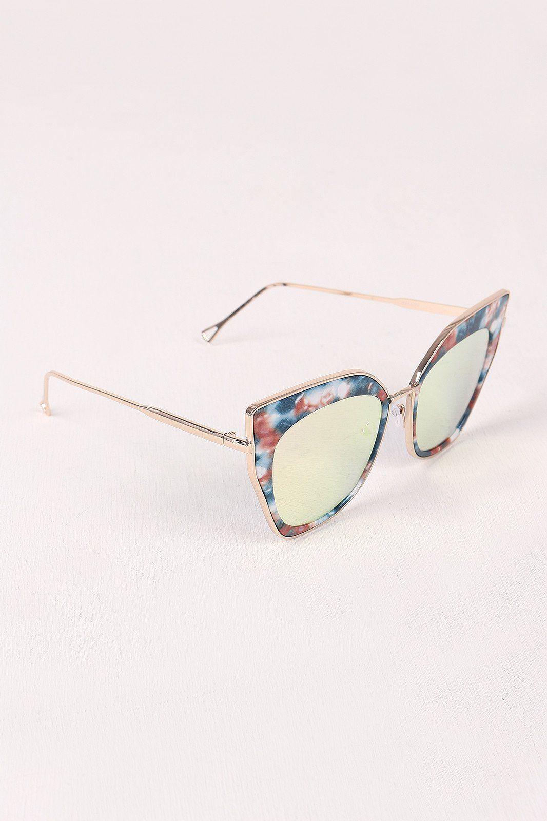 675374697d7c Printed Plastic And Metal Frame Mirrored Cat Eye Sunglasses ...