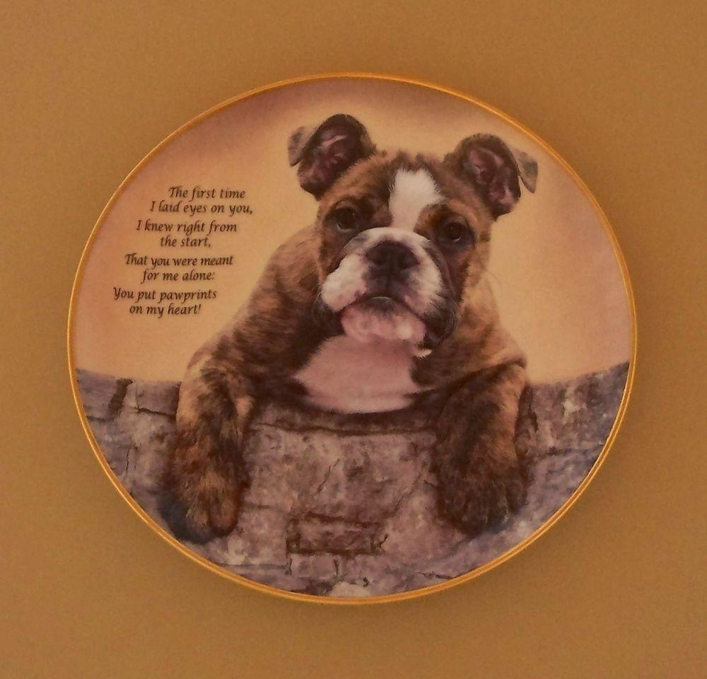 Cherished Bulldogs PAWPRINTS ON MY HEART Plate Dog Puppy Danbury ...