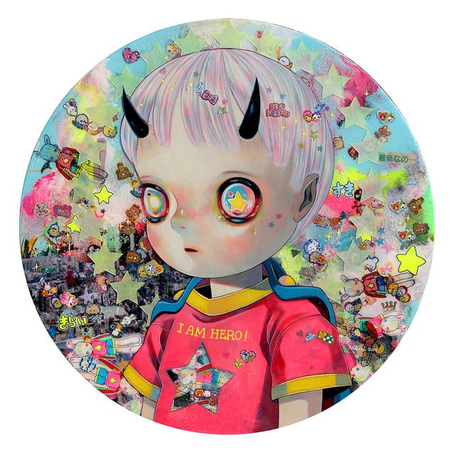 Hikari Shimoda - The Children of the One in the World 2- 50.7cm diameter - acrylic, oil, collage(paper, stickers, etc) on canvas - 2014