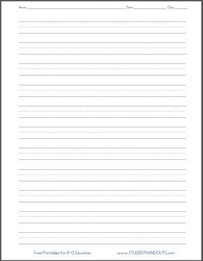 dashed line handwriting practice paper printable worksheet for primary school kids pre first. Black Bedroom Furniture Sets. Home Design Ideas