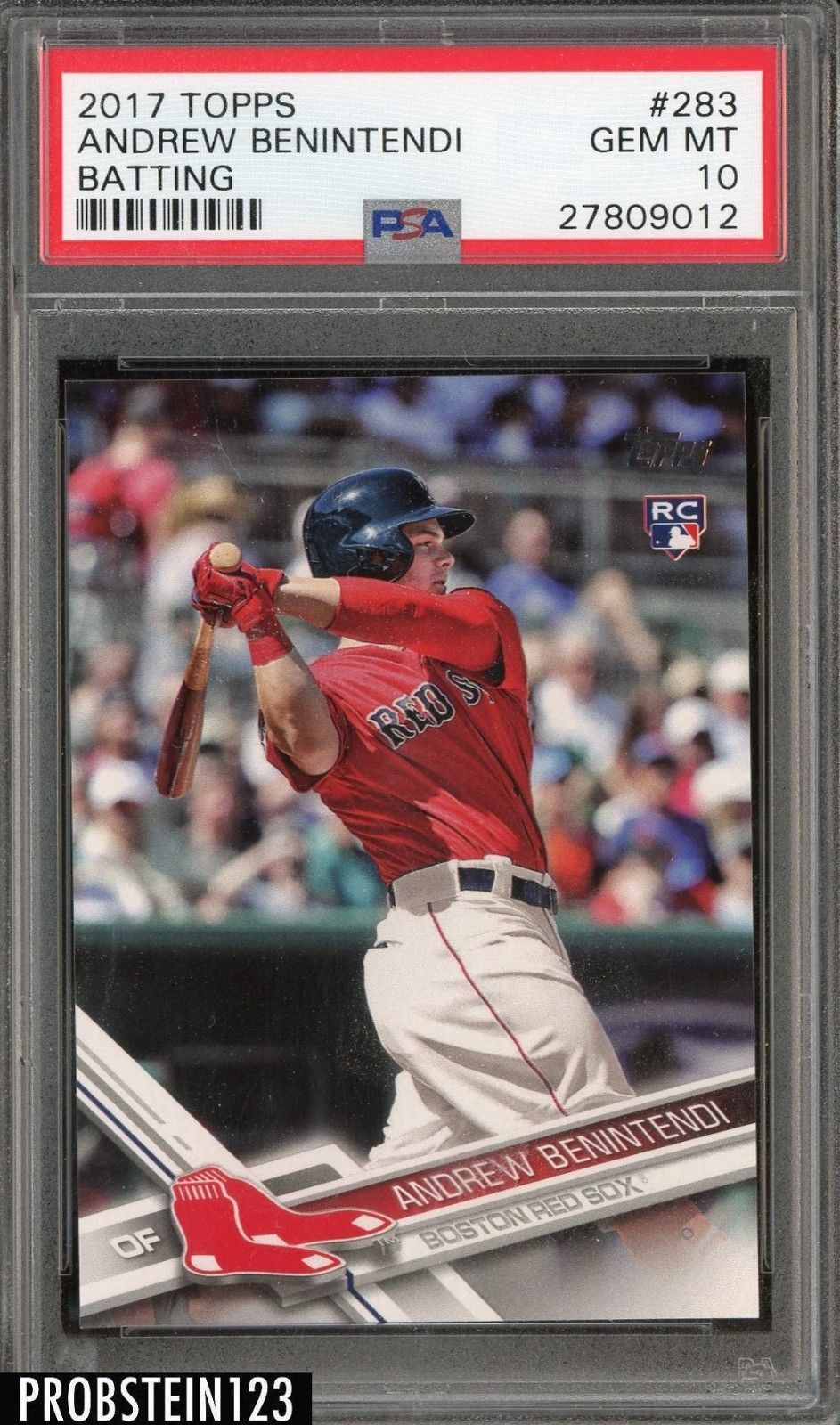 info for bf9ea 5d174 2017 Topps #283 Andrew Benintendi Batting Boston Red Sox RC ...