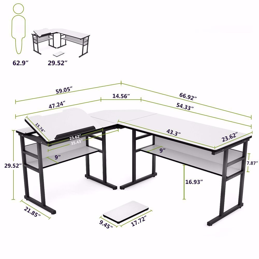 Not Just A Computer Desk Office Desk Can Also Be A Drawing Table Manager Desk Study Table Gaming Desk Laptop A In 2020 L Shaped Desk Bookshelf Desk Small Home Offices
