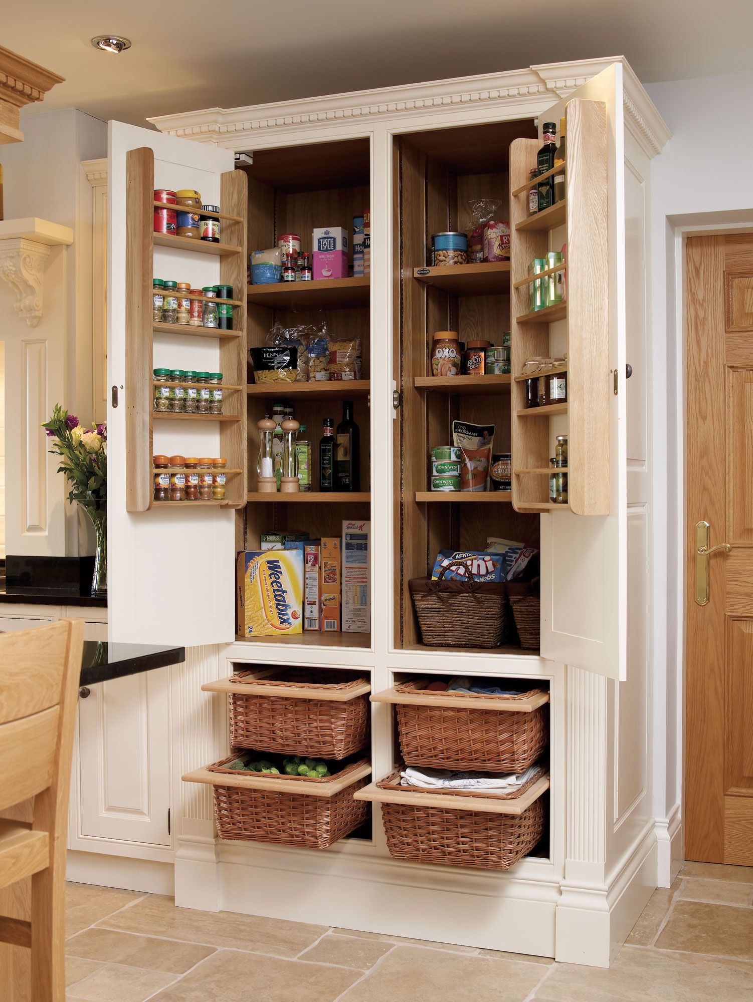 kitchen armoire tuscan curtains valances exactly what i want to do our armoir potato storage in the bottom baskets and lots of can space love spices on door