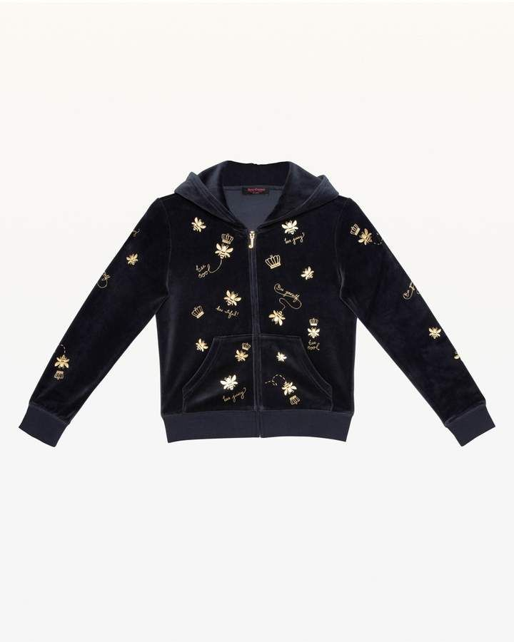 e086e43cf Juicy Couture Foil Bee   Juicy Print Velour Hoodie for Girls ...