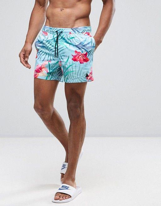 Shorts de baño cortos con estampado floral y logo de triángulo de ASOS at  asos.com