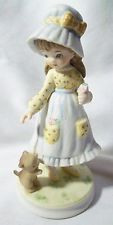 LELFTON CHINA COLLECTIBLE HAND PAINTED  GIRL IN LAVENDER WITH CAT.
