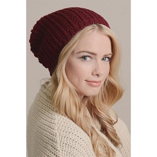 4b5939eb6 Leto Pointelle Slouch Beanie ($15) ❤ liked on Polyvore featuring ...