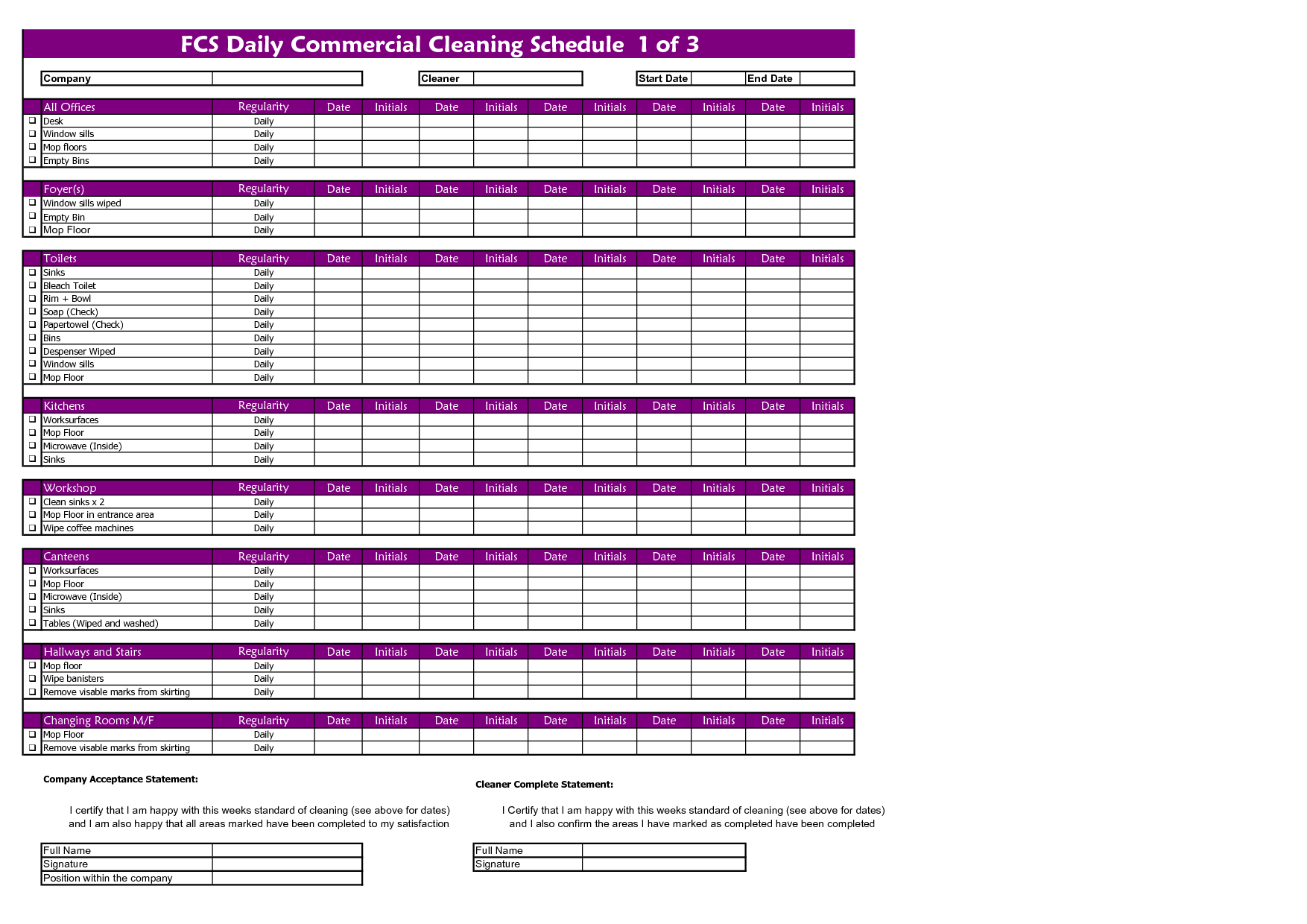 Commercial Cleaning Templates  Fcs General Cleaning Schedule