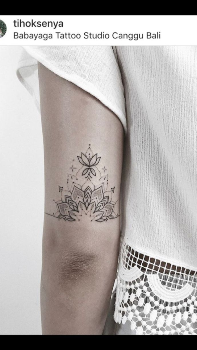 Photo of # of # elbows Mandala Tattoo # of # returned back from the elbow Mandala Tattoo,