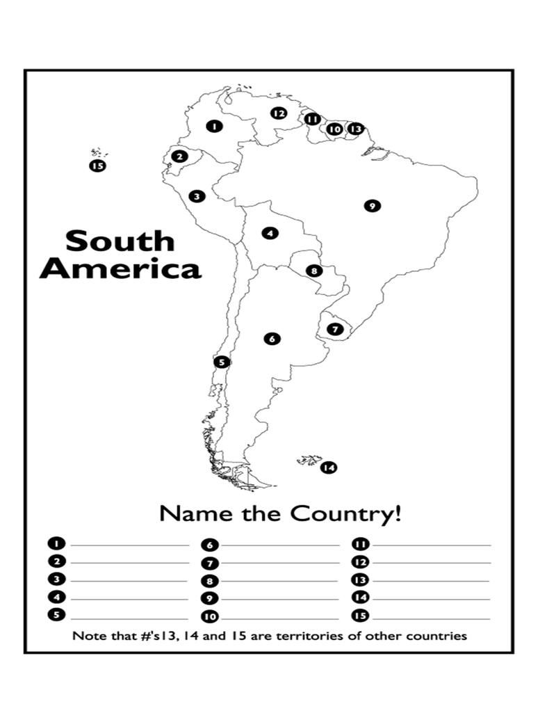 South America Map Test Page 1   South America Map Test.docx in 2020 | Teaching geography