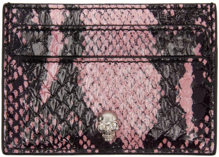 Alexander mcqueen black pink snakeskin card holder