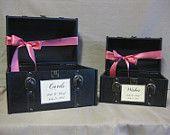 Vintage Style Suitcase Wedding Card Holder / Wedding Card Holder Train Case / Wishes / Programs Holder. $55.00, via Etsy.