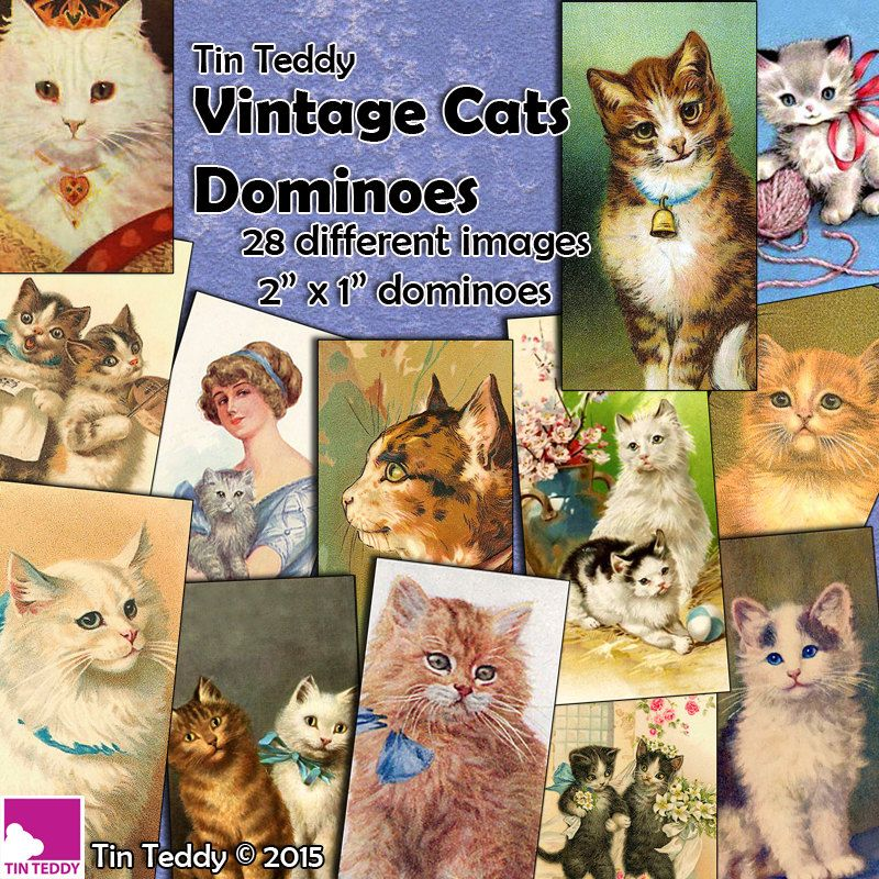 """Vintage Cats Dominoes Digital Collage Sheet  - Cats and Kittens - 2"""" x 1"""" domino size tags  x 28 -  Instant Download"""