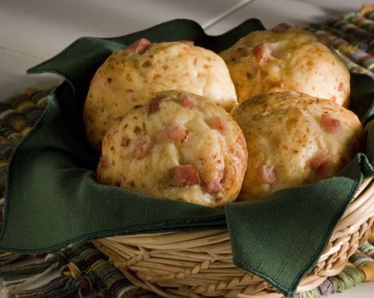 Ham and Parmesan Rolls  Freshly grated parmesan cheese and dice ham give these easy dinner rolls a delicious kick for a variety of occasions.