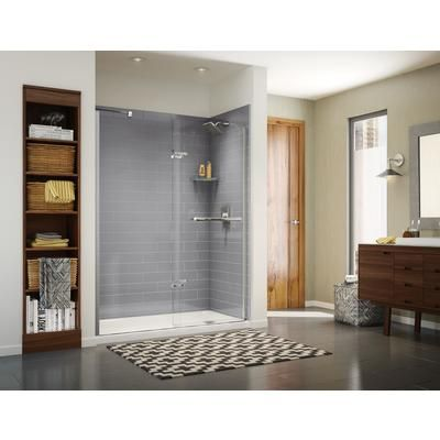 Maax Utile 60 In Metro Ash Grey Right Hand Alcove Shower Kit