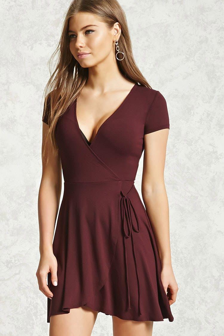 Surplice Wrap Dress Red Short Sleeve Dress Red Wrap Dress Surplice Wrap Dress [ 1125 x 750 Pixel ]