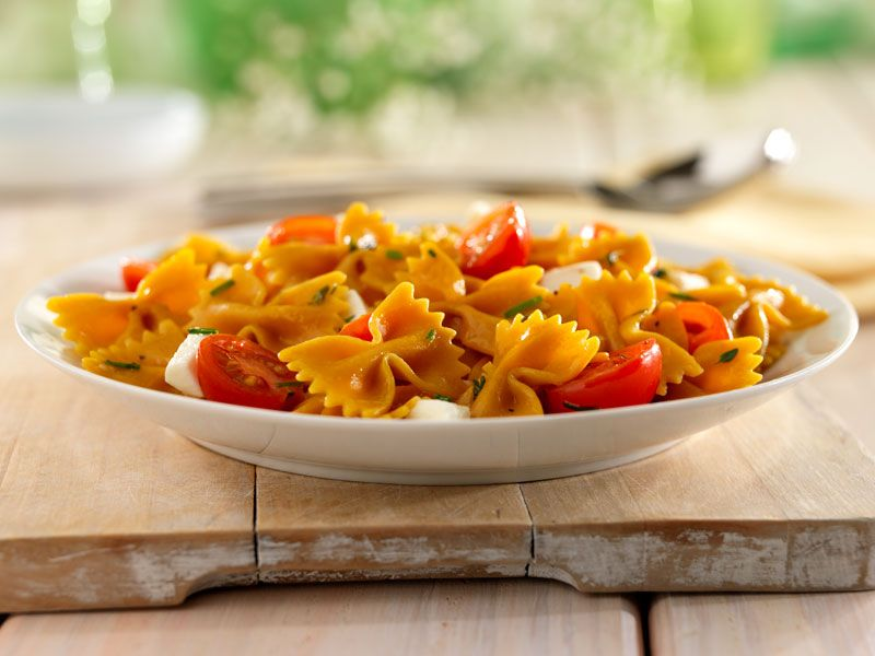 Veggie Farfalle with Marinated Cherry Tomatoes and Shredded Parmigiano