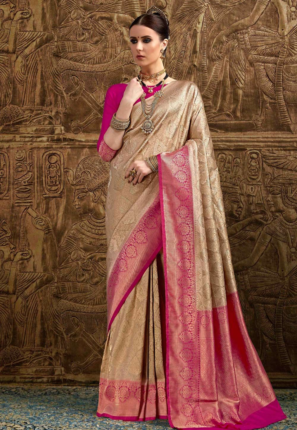 c830ce8600 Buy Beige Brocade Saree With Blouse 155862 with blouse online at lowest  price from vast collection of sarees at Indianclothstore.com.