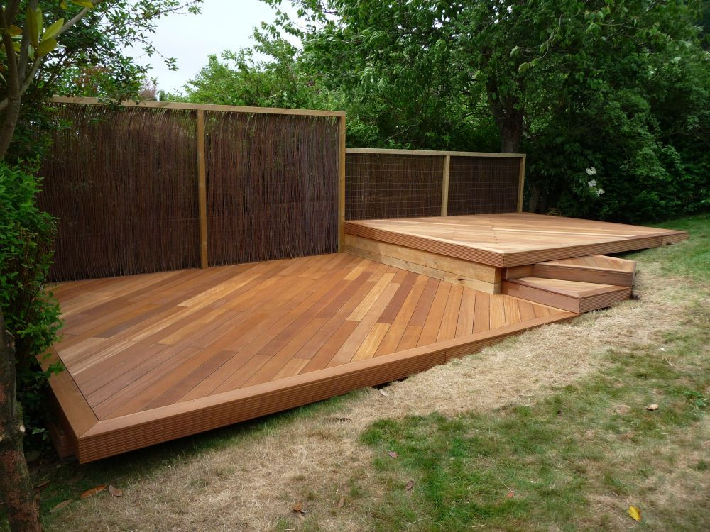 Wood deck designs balau hardwood decking brighton hove for Timber deck construction