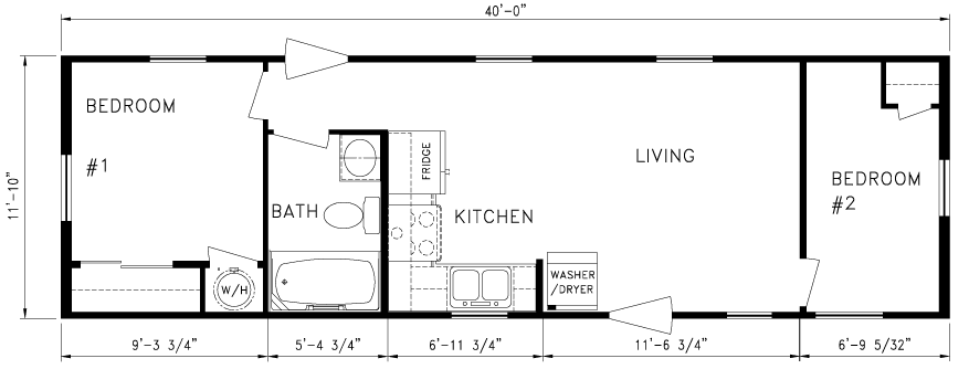 2 Bedroom, 12\'X44\' | Floor Plans | Pinterest | Bedrooms, Tiny ...