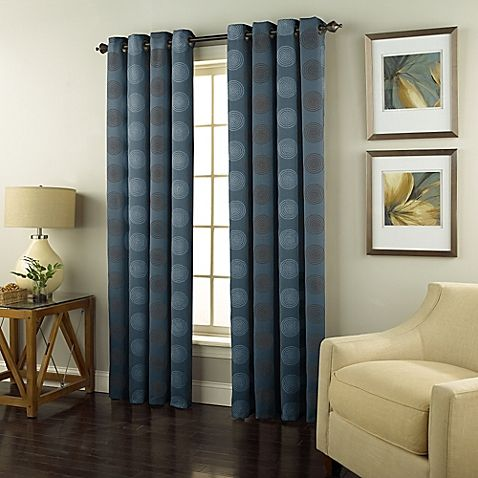 Spiral 63-Inch Grommet Top Window Curtain Panel in Spa | Family room ...