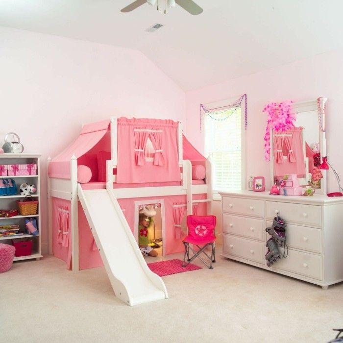 Kinderhochbett mit rutsche selber bauen  hochbett mit rutsche mädchenzimmer einrichten dekoideen spiegel ...