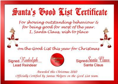 picture relating to Printable Santa Nice List Certificate named Free of charge Printable Santas Good Record Certificates