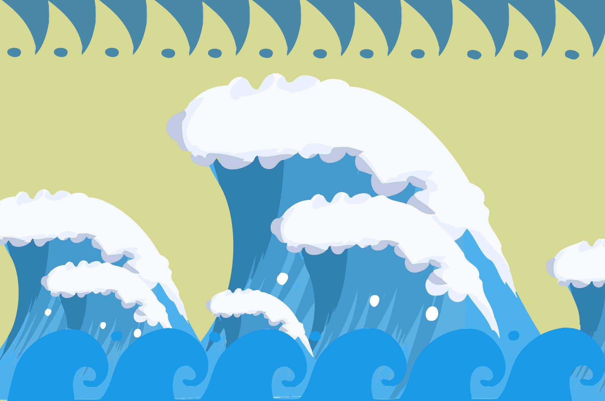波イラスト 荒々しい海の無料素材 ベクターアイテムも 波