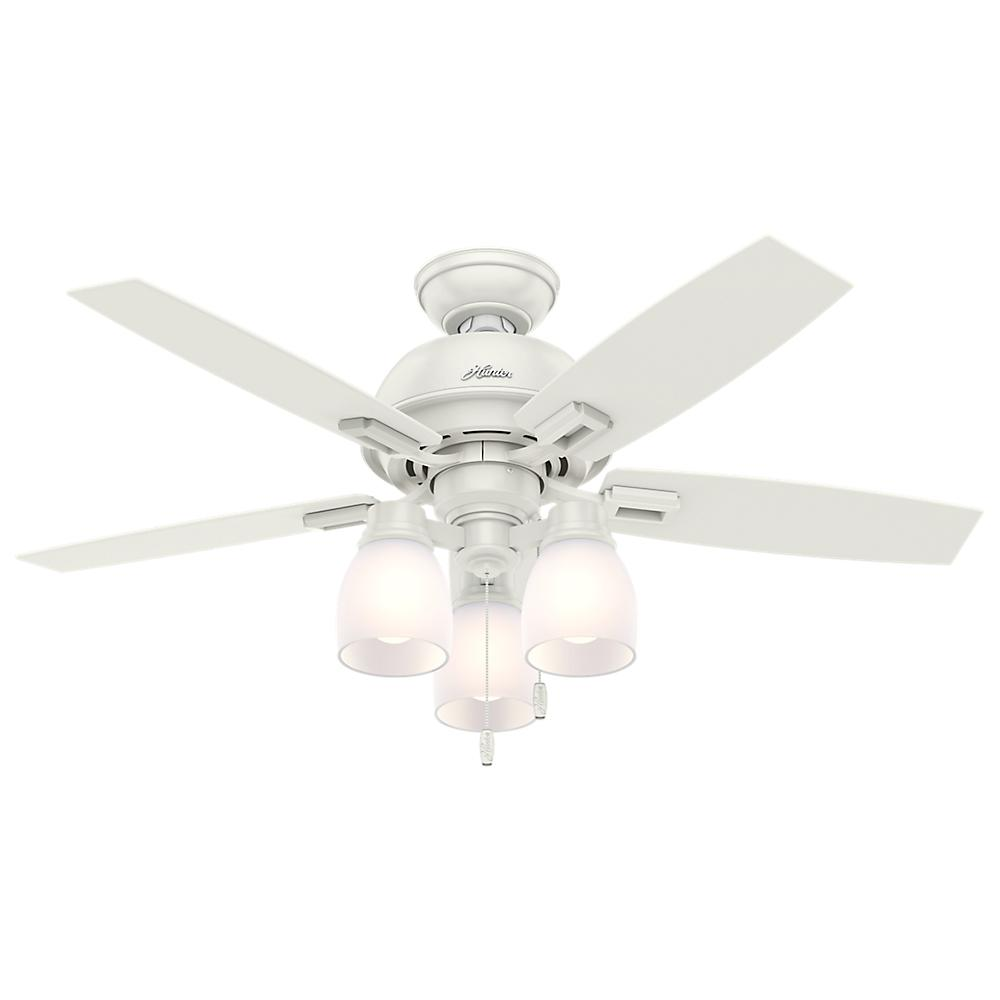 "***NEW Hunter Dempsey 44/"" 2-Light LED Indoor Ceiling Fan in Nickel//Chrome"