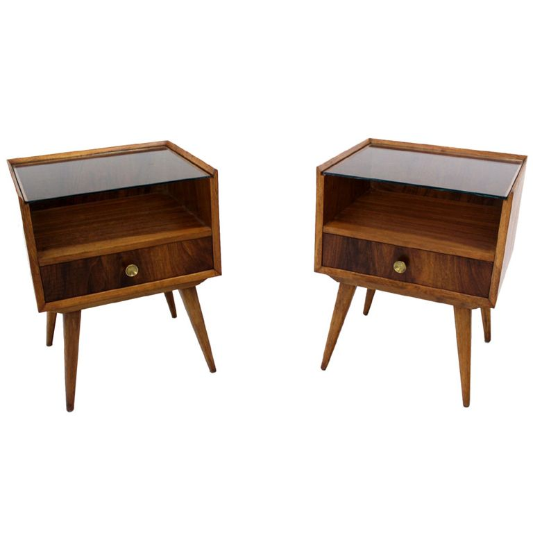 Minus The Glass Top Pair Of Swedish Mid Century Modern End Tables