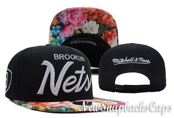 102d2631400 Brooklyn Nets Floral Snapback NBA Brim Caps Hats Mitchell Ness Mens  Adjustable
