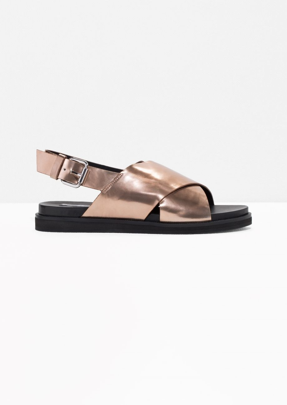 2dd30ac13384 Other Stories image 1 of Cross Strap Leather Sandals in Copper ...