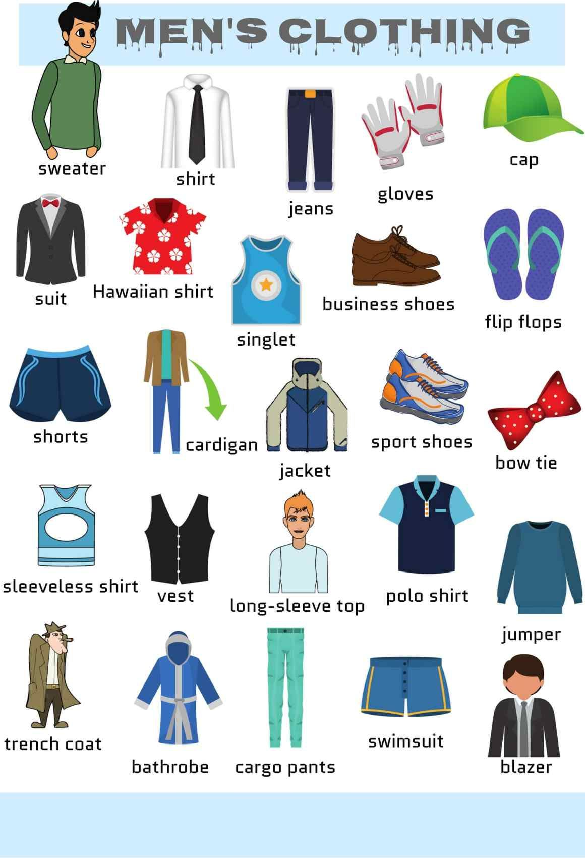 Clothes Accessories: Clothes Vocabulary: Learn Clothes Name With Pictures