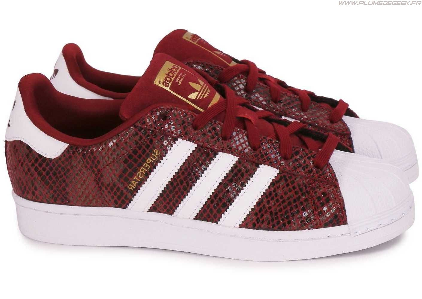 newest 38892 5ad5a Adidas Superstar Femme Rouge Bordeaux