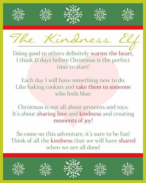 These Creative Juices The Kindness Elf Kindness Elves Kindness Elves Letter Christmas Elf