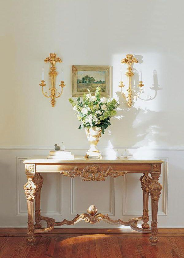 home entrance table. Home Entrance Decor Featuring Louis XIV Style Carved Wood Console Table With Valencia Marble Top And 7