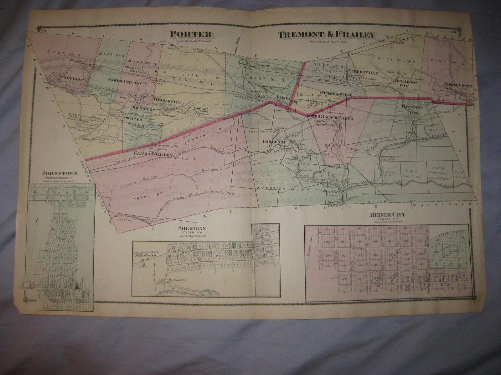 Antique 1875 Porter Tremont Frailey Township Schuylkill County Pennsylvania Map Ebay Schuylkill County Tremont Township