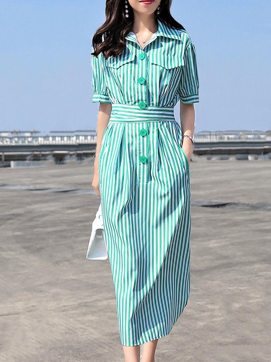 9f93b16277b Stylewe Midi Dress Shift Daytime Dress Short Sleeve Casual Buttoned Striped  Dress