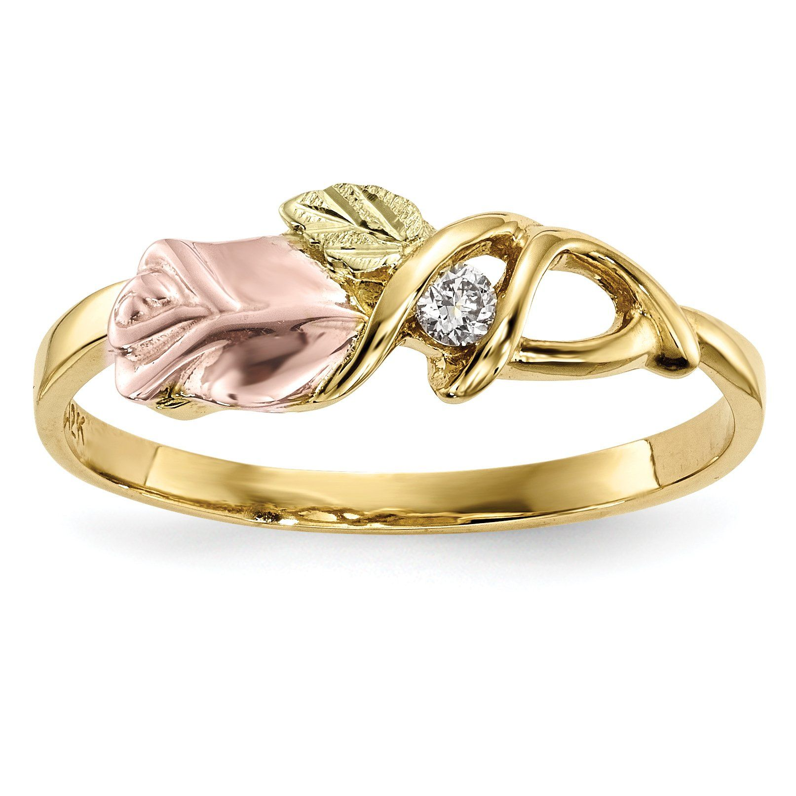 10K TriColor Black Hills Gold Diamond Ring 10K TriColor