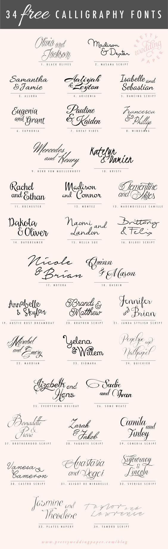 34 Free Calligraphy Script Fonts For Wedding Invitations Pretty Wedding Paper Free Calligraphy Fonts Modern Calligraphy Fonts Script Fonts