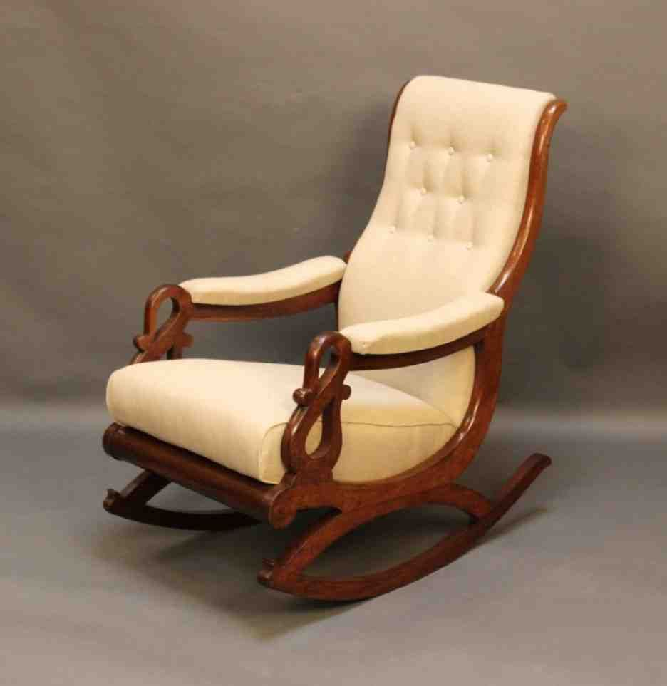 Marvelous Living Room : Wonderful Rocking Chair Cushions Indoor With Beige Leather  Wooden Chair Cushion Pads Also Brown Lacquered Wood Swan Arm Rocking Chair  And ...