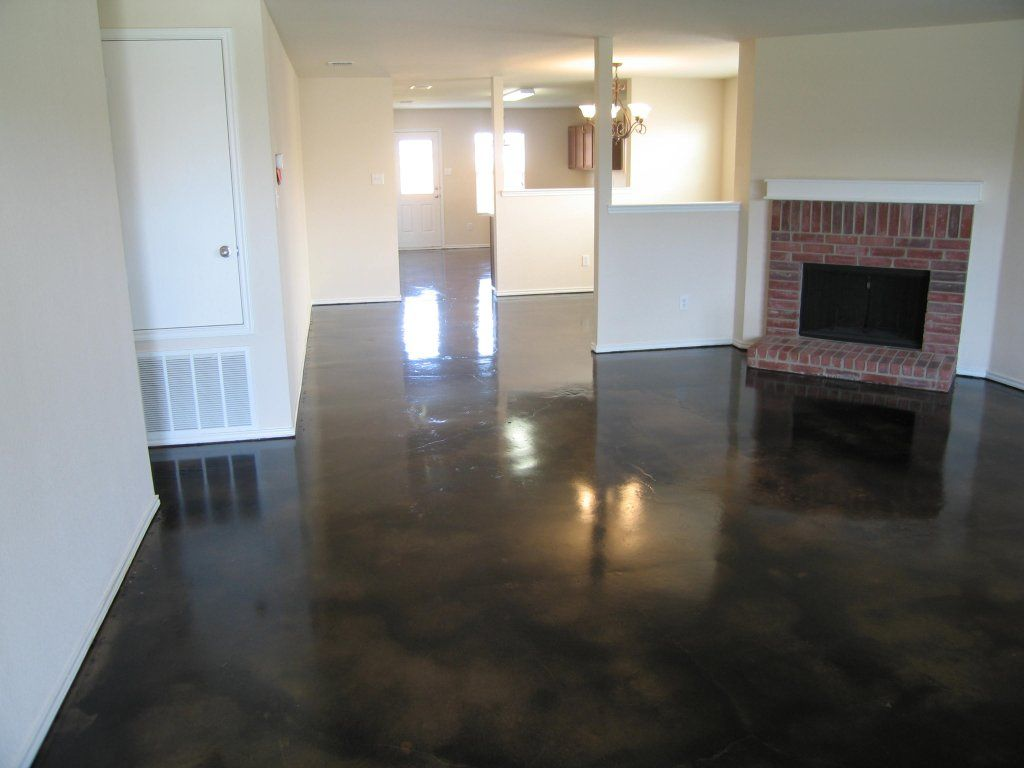 Dark Stained Concrete Floor 32 New Construction Carpet Vinyl Extraction Black With Brown