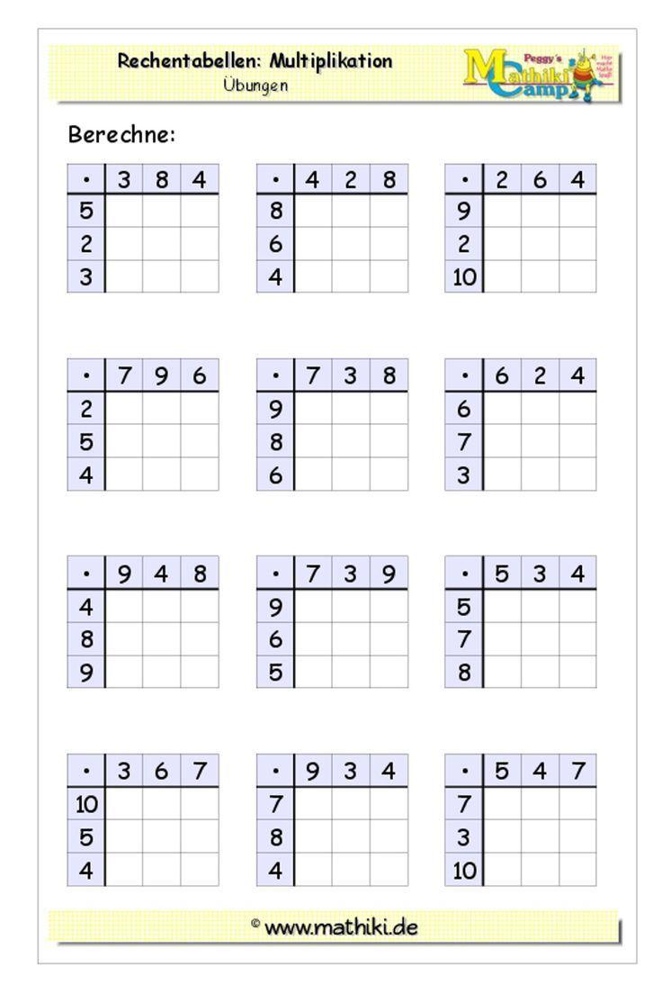 Rechentabellen Multiplikation (Klasse 3) - Lade Dir das Arbeitsblatt mit Lösungen noch heute herunter! Schau Dich im Mathiki-Online-Camp um! Hier gibt's jede Menge Übungsmaterial zur Mathematik. #Rechentabelle #Multiplikation #Klasse3 #Grundschule #Mathe #Arbeitsblatt #Arbeitsblätter #math #worksheet #mathiki #MathikiOnlineCamp
