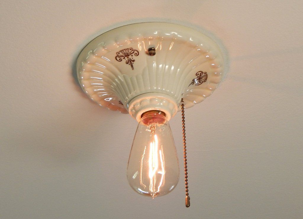 Pull Chain Ceiling Light Fixture Custom Flush Mount Vintage Regency Revival Porcelain Pull Chain Ceiling