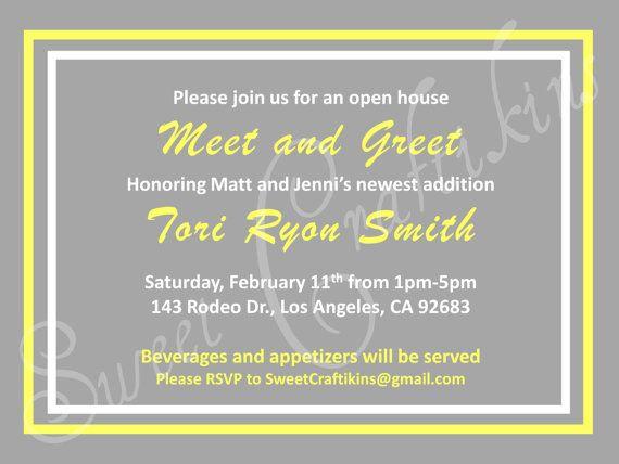 DIY Printable Meet and Greet Baby Shower Invitation Grey – Business Meet and Greet Invitation Wording
