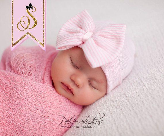 Hospital Newborn hat Newborn baby girl beanie with bow pink Newborn Hat newborn Coming home outift Baby Girl Hospital Hat Newborn Girl Hat #premiebabyhats