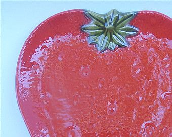 Vintage Strawberry Tray Vintage Red Plate Vintage Red Tray Platter Serving Red Dish Strawberry Plate Knobler & Vintage Strawberry Tray Vintage Red Plate Vintage Red Tray Platter ...