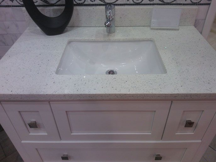 Sparkling White Quartz With White Cabinet Bathroom Home Sweet Home